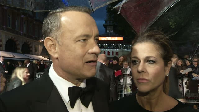 Exterior shots Tom Hanks actor and Rita Wilson wife talk about whether the UK is a good place to make a film He says that the UK is one of the...