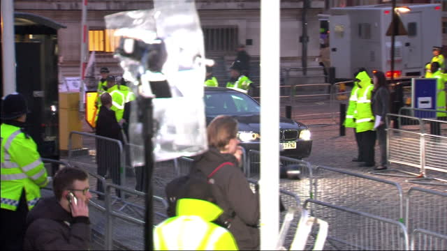 Exterior shots Tony Blair arrives in car gets out poses for the media before walking into the Queen Elizabeth 2 building in Westminster This is Tony...