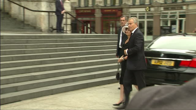 Exterior shots Tony Blair former Prime Minister arrives at St Pauls Cathedral with wife Cherie Blair for memorial service to remember victims of the...