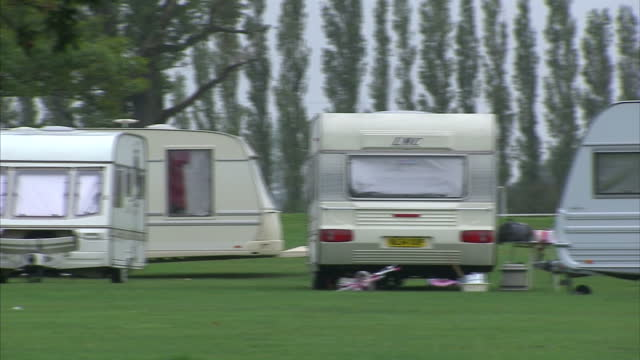 exterior shots travellers caravans from dale farm parked on stockwood park. luton council has begun legal action to have them removed from the 100... - passenger stock videos & royalty-free footage