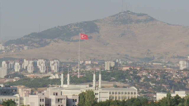 Exterior shots Turkish flags flying across the Ankara city skyline on July 26 2016 in Ankara Turkey