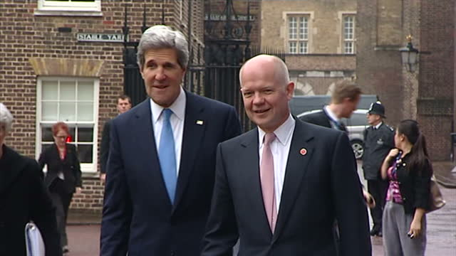exterior shots us foreign secretary arrives for the g8 foreign heads of state summit & is greeted by british foreign secretary william hague & both... - photo call stock videos & royalty-free footage