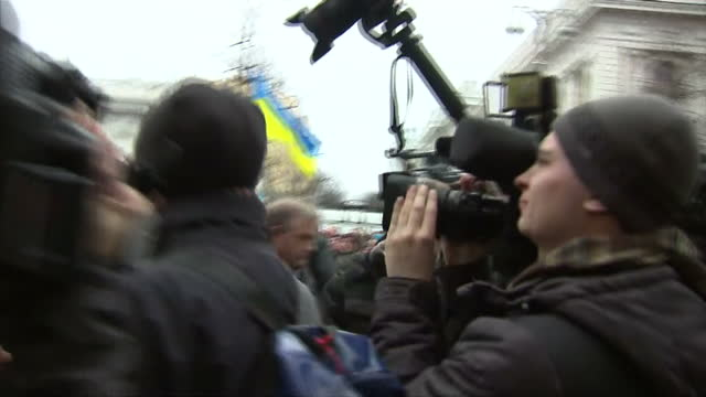 Exterior shots various opposition leaders leaving building inc Oleh Tyahnybok and Arseniy Yatseniuk on February 21 2014 in Kiev Ukraine