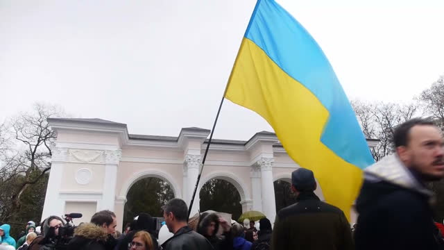 Exterior shots various protests in Kiev with flags interviews A big show of support in Red Square but in the Ukrainian capital Kiev antiRussian...