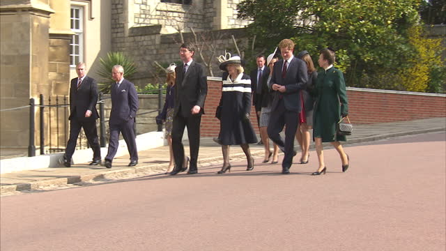 Exterior shots various royals arrive for the10 year anniversary of the Queen Mother's death at St George's Chapel including Prince Harry Prince...