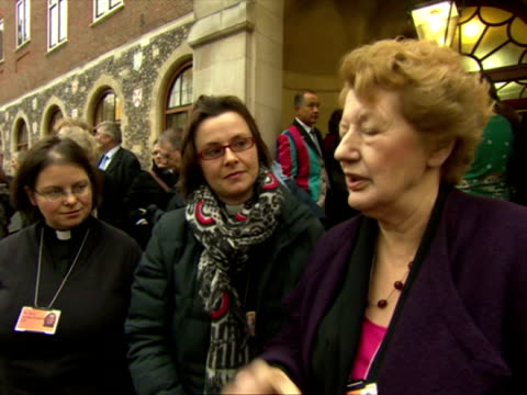 exterior shots voxpos with femael vicars outside the general synod on the vote for women bishops female vicars speak on women bishops vote on... - synod stock videos & royalty-free footage