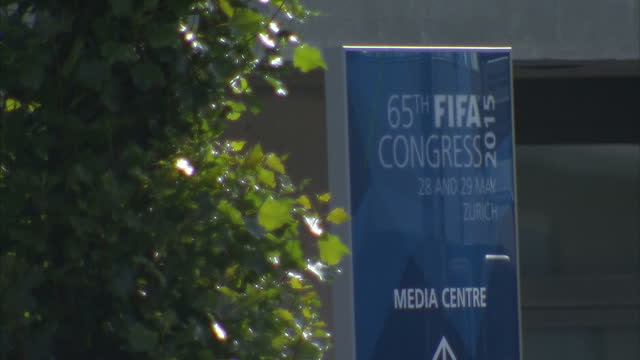 exterior shots workers prepare for 65th fifa congress at hallenstadion on may 28, 2015 in zurich, switzerland. - 2015 stock videos & royalty-free footage