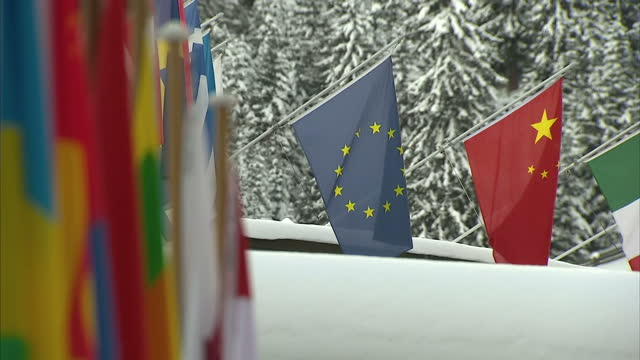 exterior shots world flags hanging outside the buildings hosting the 2016 world economic forum snow covered trees in background on january 21 2016 in... - ダボス点の映像素材/bロール