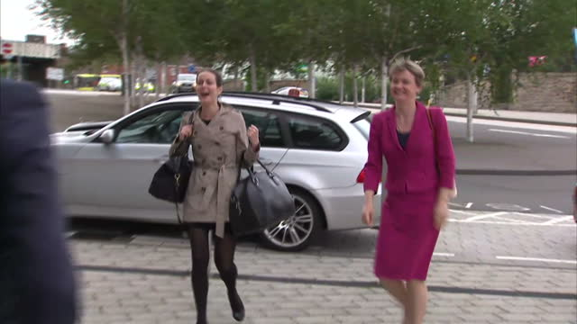 Exterior shots Yvette Cooper MP arriving at Labour Leadership Debate held at The Sage Venue in Gateshead on September 03 2015 in Gateshead England
