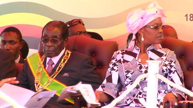 Exterior shots Zimbabwe President Robert Mugabe and his wife First Lady Grace Mugabe Vice President of Zimbabwe Joice Mujuru Prime Minister Morgan...