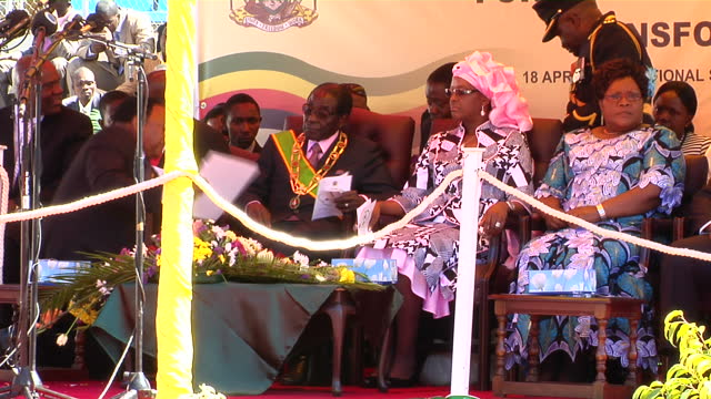 exterior shots zimbabwe president robert mugabe and his wife first lady grace mugabe, vice president of zimbabwe joice mujuru, prime minister morgan... - parade stock videos & royalty-free footage