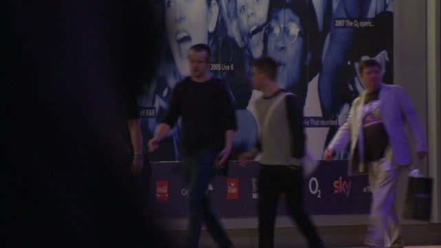 exterior showing greenwich o2 concert venue, multiple lights and visitors walk around stadium sized venue on july 02, 2014 in greenwich, england. - モンティ・パイソン点の映像素材/bロール
