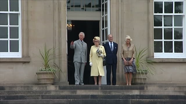 exterior showing prince charles prince of wales queen elizabeth prince philip duke of edinburgh and camilla duchess of cornwall standing outside... - verwaltungsbehörde dumfries and galloway stock-videos und b-roll-filmmaterial