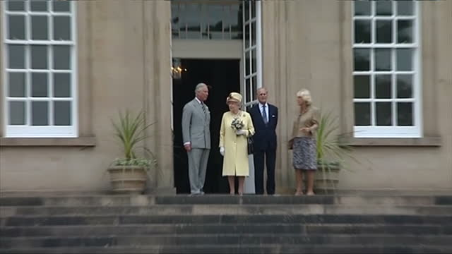 exterior showing prince charles prince of wales queen elizabeth prince philip duke of edinburgh and camilla duchess of cornwall standing on line... - verwaltungsbehörde dumfries and galloway stock-videos und b-roll-filmmaterial