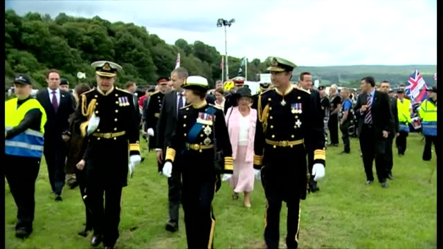 exterior showing princess anne on walkabout in full naval uniform in attendance at armed forces day in stirling - military uniform stock videos & royalty-free footage
