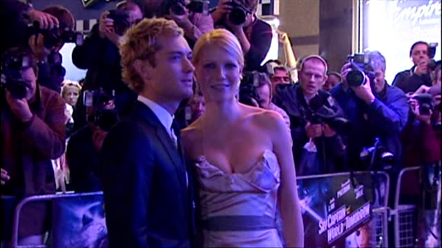 exterior shows gwyneth paltrow on red carpet for sky captain the world of tomorrow premiere gwyneth joined by jude law on september 27 2004 in london... - gwyneth paltrow stock videos and b-roll footage
