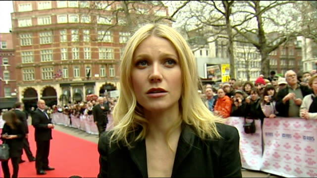 exterior shows gwyneth paltrow on red carpet giving interview on march 18 2008 in london england - gwyneth paltrow stock videos and b-roll footage