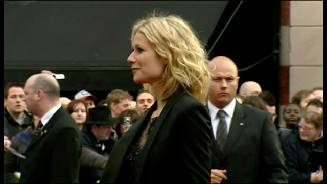 exterior shows gwyneth paltrow posing on red carpet at iron man premiere at leicester square on april 24 2008 in london england - gwyneth paltrow stock videos and b-roll footage