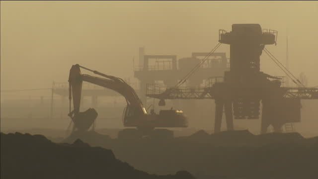 Exterior shows heavy mining machinery at work on July 11 2014 in Beijing China