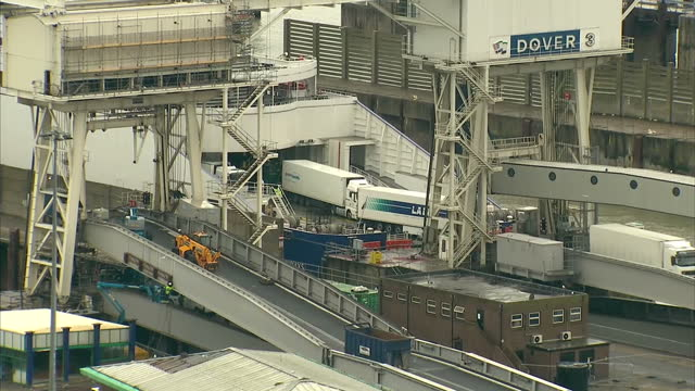 Exterior shows Lorries in Dover International Ferry port busy roads full of moving vehicles on March 20 2014 in Dover England