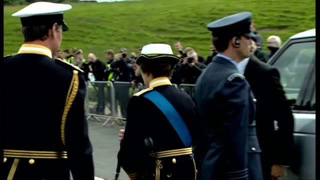 exterior shows prince anne, the princess royal arriving for armed forces day celebrations in stirling, princess dressed in full naval uniform shakes... - stirling stock videos & royalty-free footage