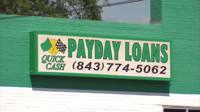 Exterior signage around Dillon South Carolina advertising various payday loan businesseson October 24 2012 in Dillon South Carolina