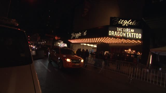 exterior signage at 'the girl with the dragon tattoo' new york premiere new york ny united states - the girl with the dragon tattoo stock videos and b-roll footage