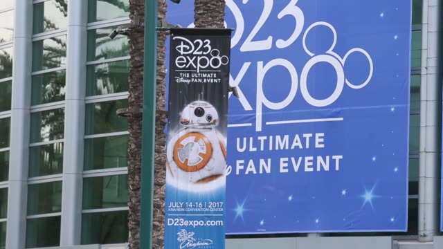 Exterior signage is displayed for the D23 Expo 2017 at the Anaheim Convention Center in Anaheim CA on July 15 2017 Shots CU of D23 signage on tarp...