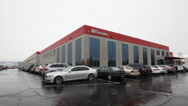 Exterior Signage shots of Blendtecs manufacturing facility in Orem Utah on a cloudy day Shots of the building exteriors and a packed employee parking...