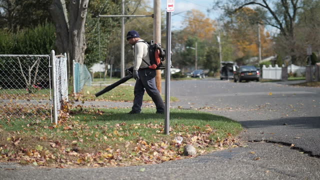 exterior slowmotion artistic shots of a man with a leaf blower blowing autumn leaves from a verge in a residential suburban road on 12 december 2017... - porta della cella video stock e b–roll