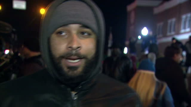 Exterior soundbite vox pop with a local man in Ferguson speaking about public reaction to the grand jury verdict on the shooting of Michael Brown by...