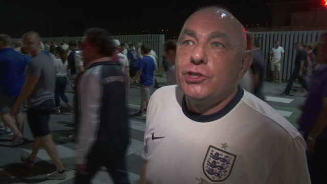 vídeos de stock, filmes e b-roll de exterior soundbite with a disappointed england fan after england were defeated by iceland and knocked out of the euro 2016 competition when asked... - euro 2016