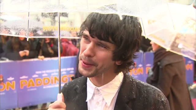 Exterior soundbite with actor Ben Whishaw speaking about voicing the character of Paddington Bear>> on November 23 2014 in London England
