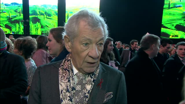exterior soundbite with actor sir ian mckellen speaking about how the enthusiasm of tolkien fans for 'the lord of the rings' and 'the hobbit' films... - the hobbit: the battle of the five armies stock videos & royalty-free footage