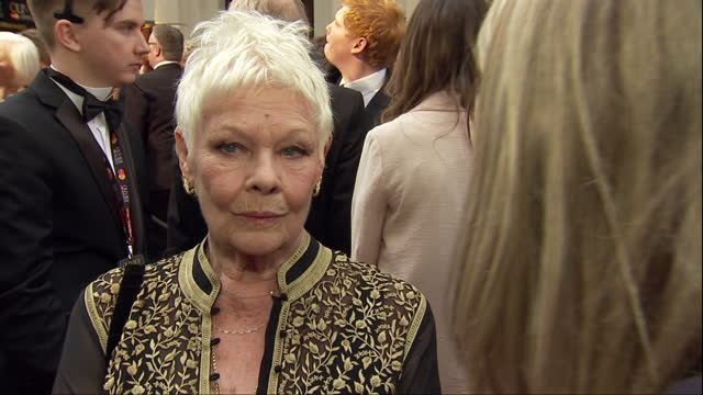 Exterior soundbite with actress Dame Judi Dench speaking about how much Shakespeare's works means to her as the 400th Anniversary of his death...