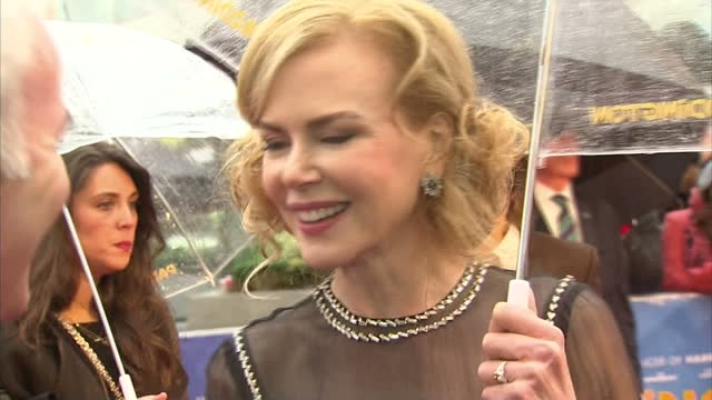 Exterior soundbite with actress Nicole Kidman speaking about being asked to be in the film 'Paddington' and how she loved the Paddington Bear stories...