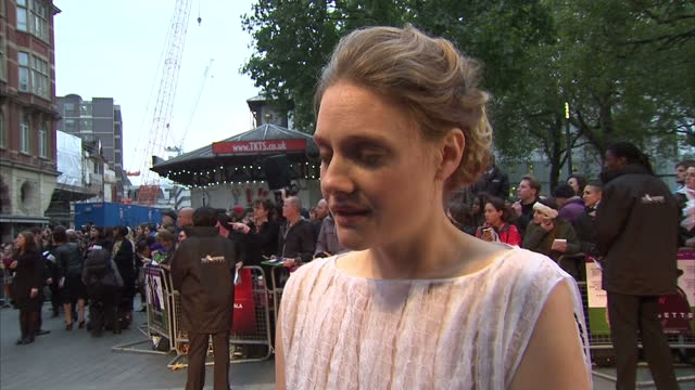 exterior soundbite with actress romola garai speaking about the recent controversy over a photoshoot in which the stars of suffragette wore tshirts... - romola garai stock videos & royalty-free footage