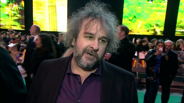 Exterior soundbite with director Peter Jackson speaking about feeling strange to have finished 'The Hobbit The Battle of the Five Armies' and that he...