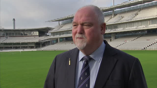 exterior soundbite with former england cricket captain mike gatting speaking about the accident that caused phillip hughes' death and how safety... - früherer stock-videos und b-roll-filmmaterial