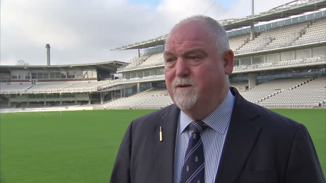 exterior soundbite with former england cricket captain mike gatting paying tribute to phillip hughes>> on november 27 2014 in london united kingdom - früherer stock-videos und b-roll-filmmaterial