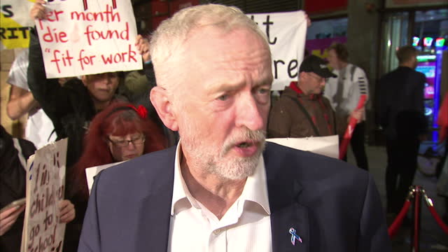 Exterior soundbite with Labour leader Jeremy Corbyn at the premiere of 'I Daniel Blake' saying 'This is how film should be[Ken Loach] has woken up...