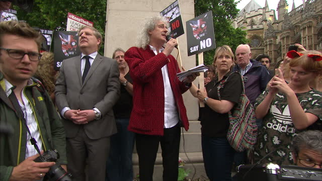 Exterior speech by Brian May to gathered crowd of anti Fox Hunting and animal rights protesters outside the Houses of Parliament PART ONE on July 14...