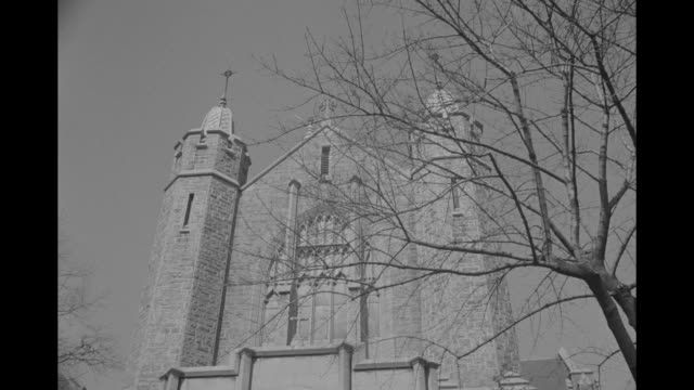 vs exterior st bridgetís church see traffic people arrive for services / vs interior overhead shots of congregation altar - grace kelly actress stock videos & royalty-free footage