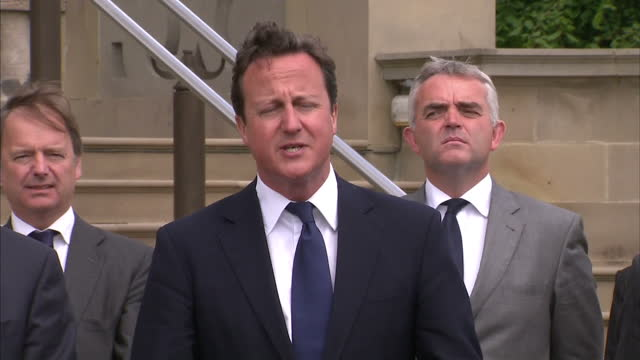 exterior statement david cameron giving his reaction to the archbishop of canterbury's comments on the coalition governments policies david cameron... - カンタベリー大主教点の映像素材/bロール