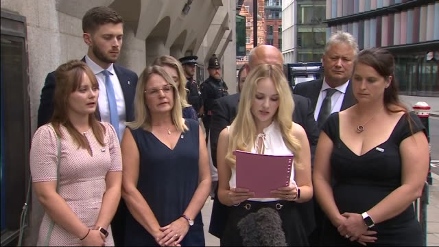 exterior statement outside the old bailey by lissie harper widow of pc andrew harper after the conviction for manslaughter of three men for the... - widow stock videos & royalty-free footage