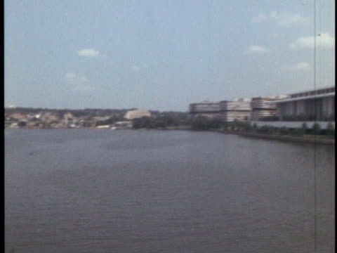 exterior ws of the john f kennedycenterfor the performing arts in washington dc and panning shot of the potomac river days before the kennedy... - john f. kennedy center for the performing arts stock videos & royalty-free footage