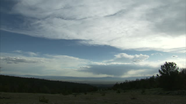 Exterior timelapse shots of swirling clouds above a Wyoming landscape on 1 June 2017 in Wyoming United States