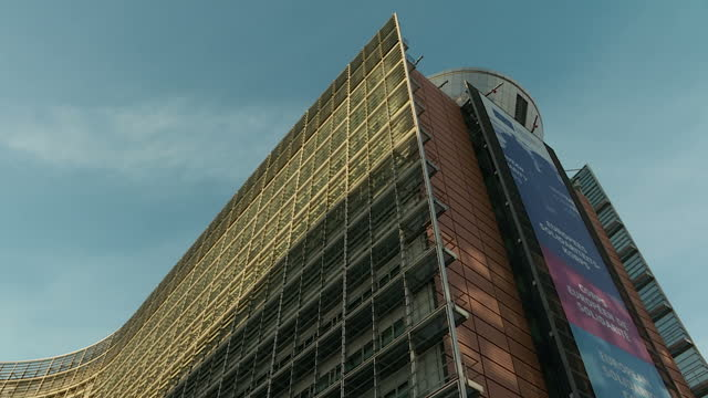 exterior timelapse shots of the european commission headquarters as clouds move overhead on 29 march 2017 in brussels belgium - europäische kommission stock-videos und b-roll-filmmaterial