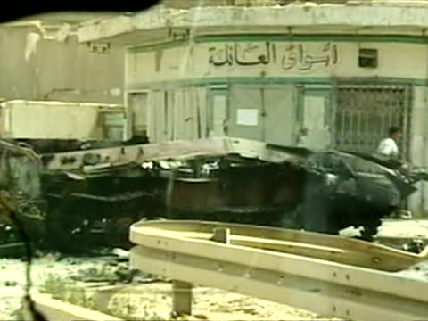 exterior tracking shot of iraqi tanks completely destroyed by us forces destroyed iraqi tanks on april 07 2003 in iraq - iraq war stock videos and b-roll footage