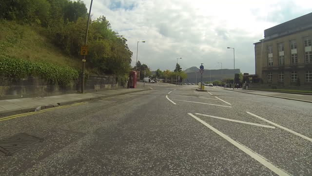 exterior tracking shots driving along regent road past the new parliament house to the gates at calton hill on september 12 2014 in edinburgh... - orthographic symbol stock videos and b-roll footage